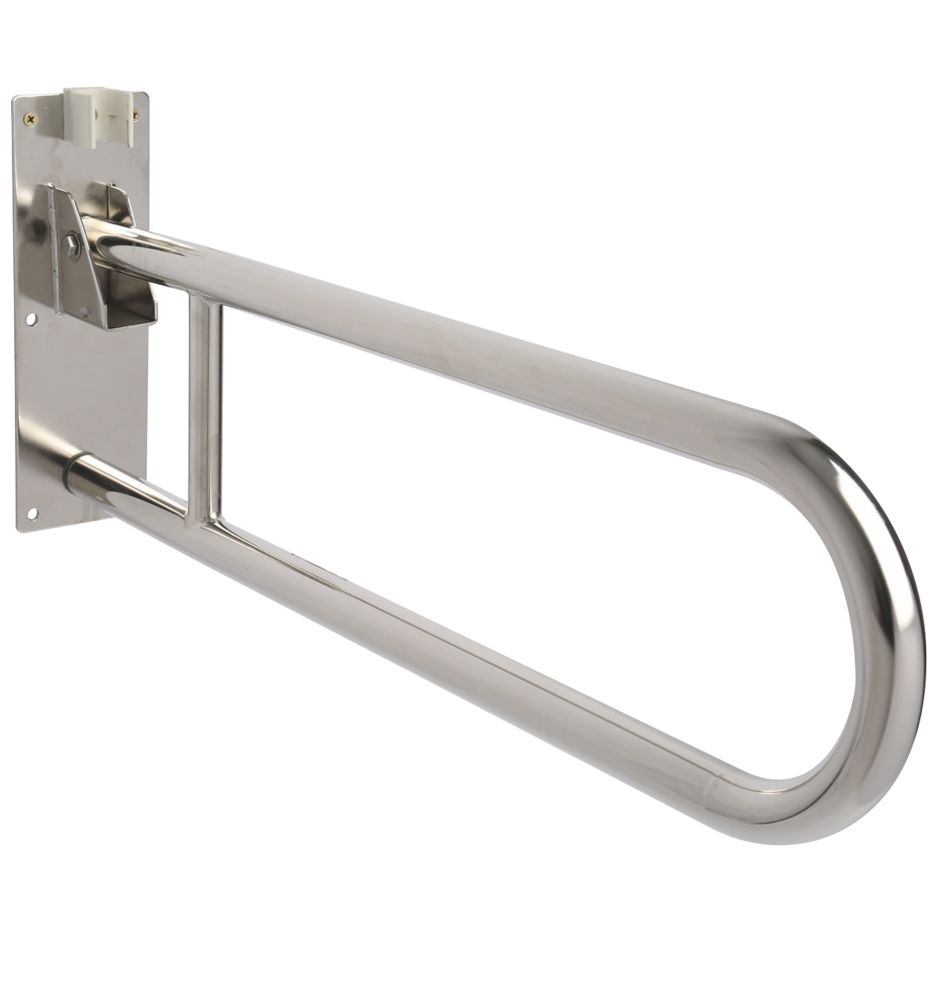 Image of Croydex AP502841 Fold-Down Handrail Stainless Steel 850 x 210 x 28mm