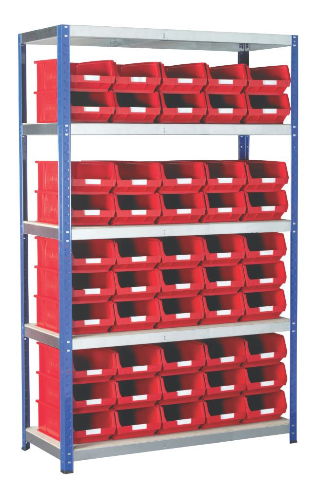 Image of Barton Ecorax Shelving Red 1200 x 450 x 1800mm