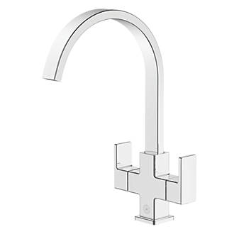 Image of Watersmith Heritage Cubic Dual-Lever Monobloc Mixer Kitchen Tap Chrome