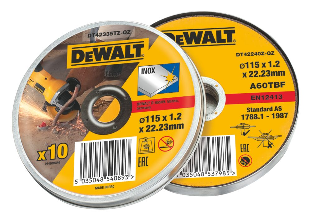 Image of DeWalt Metal Cutting Discs 115 x 1.2 x 22.2mm 10 Pack