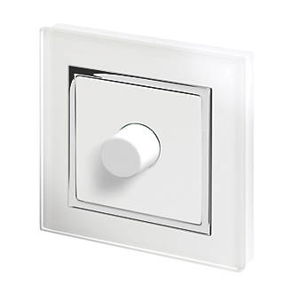 Image of Retrotouch 1-Gang 2-Way LED Rotary LED Dimmer Switch White Glass with White Inserts