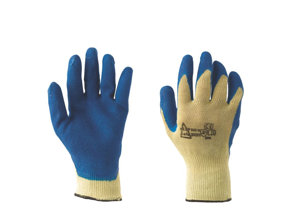 Image of Keep Safe Cut 3 Kevlar Grip Latex-Coated Palm Gloves Blue Large