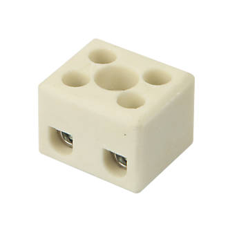 Image of Hylec Double Pole 24A Steatite Ceramic Terminal Blocks Pack of 5