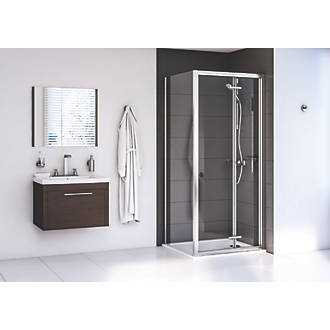 Image of Aqualux Edge 6 Square Shower Enclosure LH/RH Polished Silver 800 x 800 x 1900mm