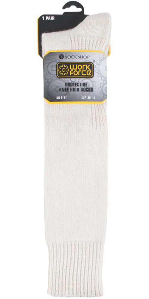 Image of Sock Shop Protective Knee-High Socks Cream Size 6-11