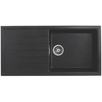 Image of Bristan Quartz Resin Composite Kitchen Sink & Reversible Drainer Black 1 Bowl Left or Right-Handed 1000 x 500mm