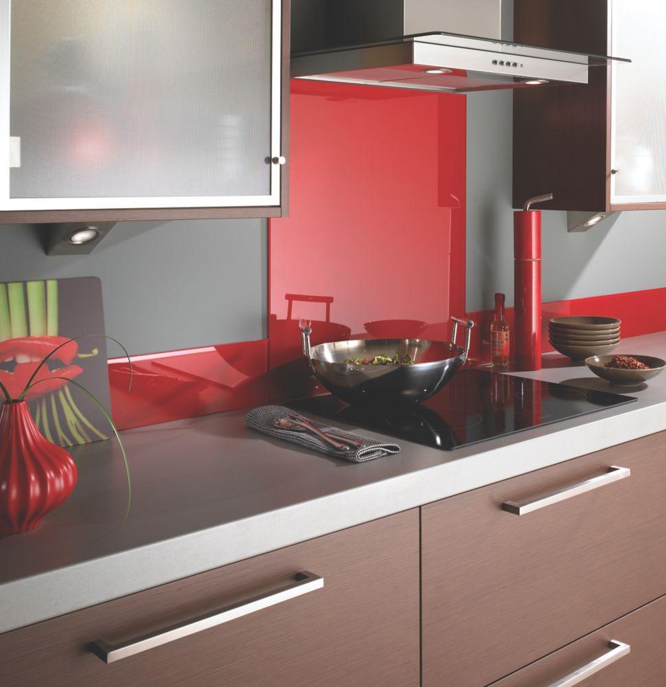 Image of Impact Glass Lipstick Red Self-Adhesive Glass Upstand 1000 x 140 x 6mm