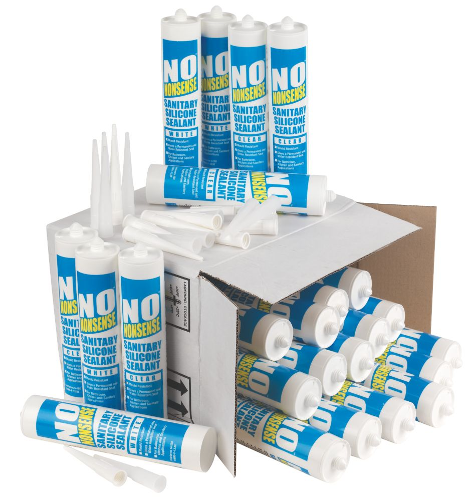 Image of No Nonsense 11669102 & 11669002 Plumbers Sanitary Silicone 12 x Clear & 12 x White 310ml 24 Pack