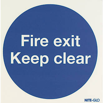 "Image of Nite-Glo ""Fire Exit Keep Clear"" Sign 150 x 150mm"