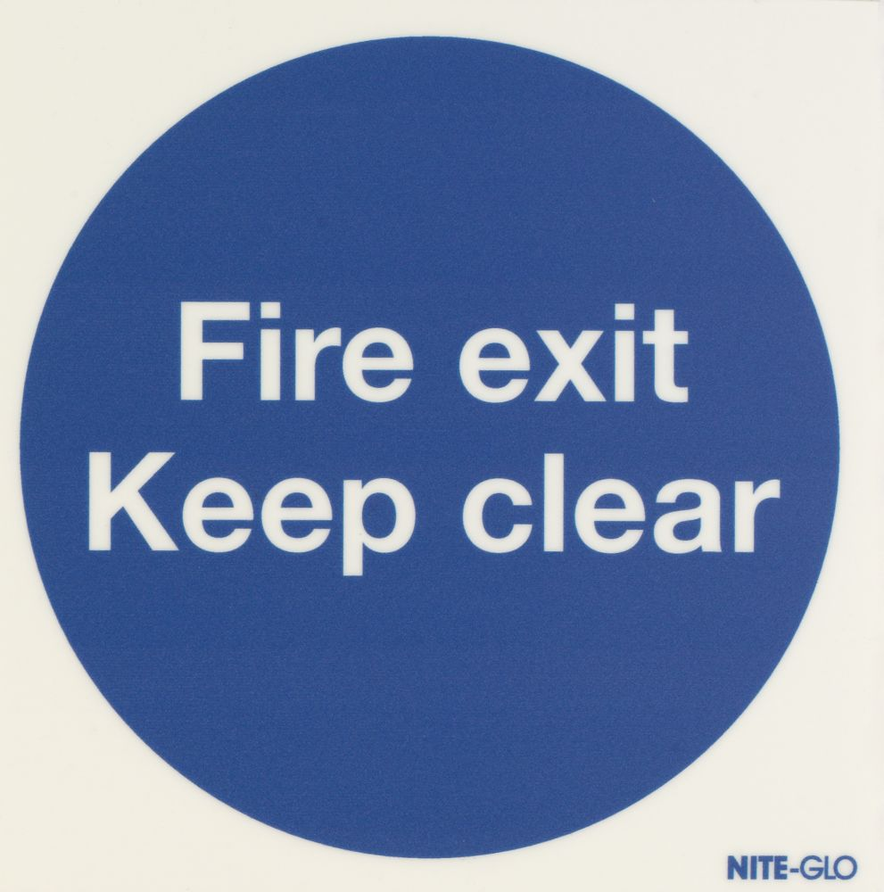"""Image of Nite-Glo """"Fire Exit Keep Clear"""" Sign 150 x 150mm"""