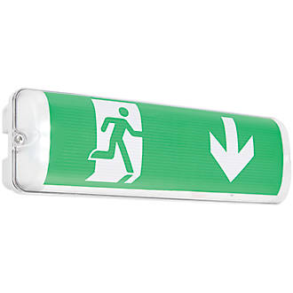 Image of Saxby Maintained LED Emergency Sight Plus Emergency Exit Bulkhead with Down Arrow 2W