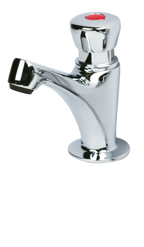 Image of H & C Self-Closing Bathroom Basin Pillar Tap Shine