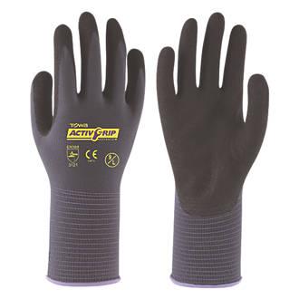 Image of Towa ActivGrip Advance Nitrile Foam-Coated Gloves Black/Purple Medium