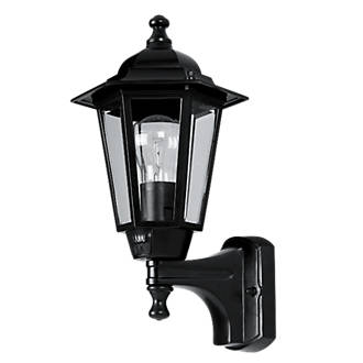 60W Black 6Panel Coach Lantern Outdoor Wall Light PIR