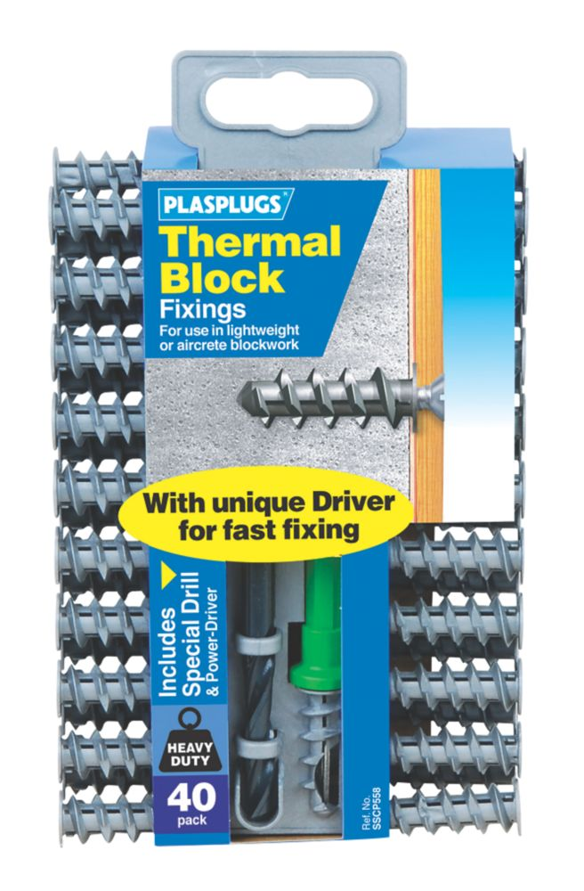Image of Plasplugs Thermal Block Fixings Nylon 33mm 40 Pack