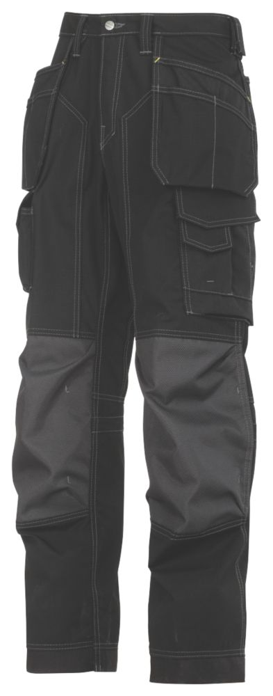 """Image of Snickers 3223 Floorlayer Floorlayer Trousers Grey / Black 31"""" W 30"""" L"""