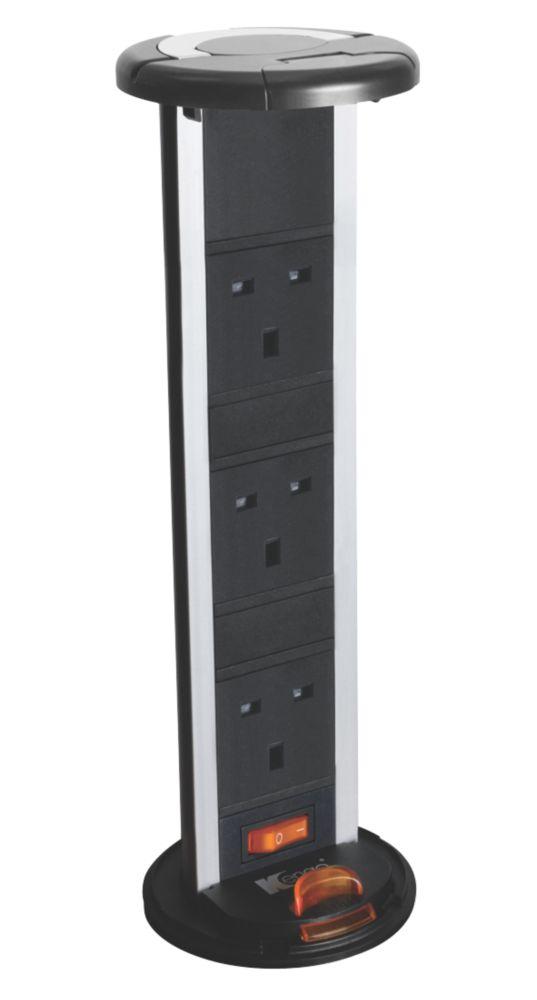 Image of Kengo 13A 3-Gang Pop-Up Power Socket Black