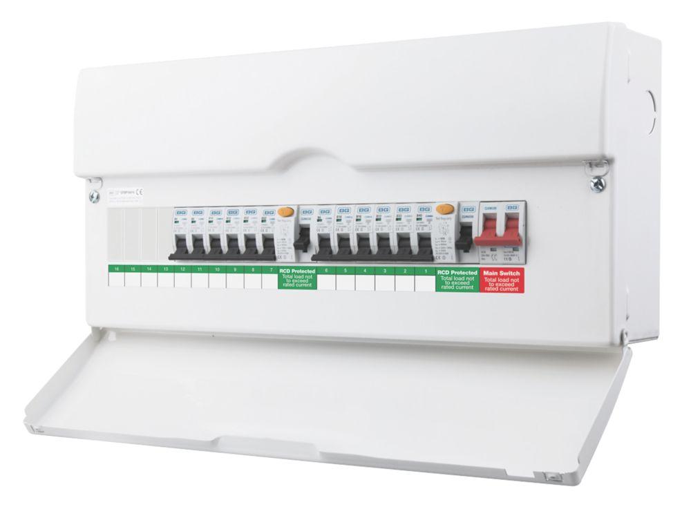 Image of BG 16-Way Dual RCD Metal Consumer Unit & 12 MCBs
