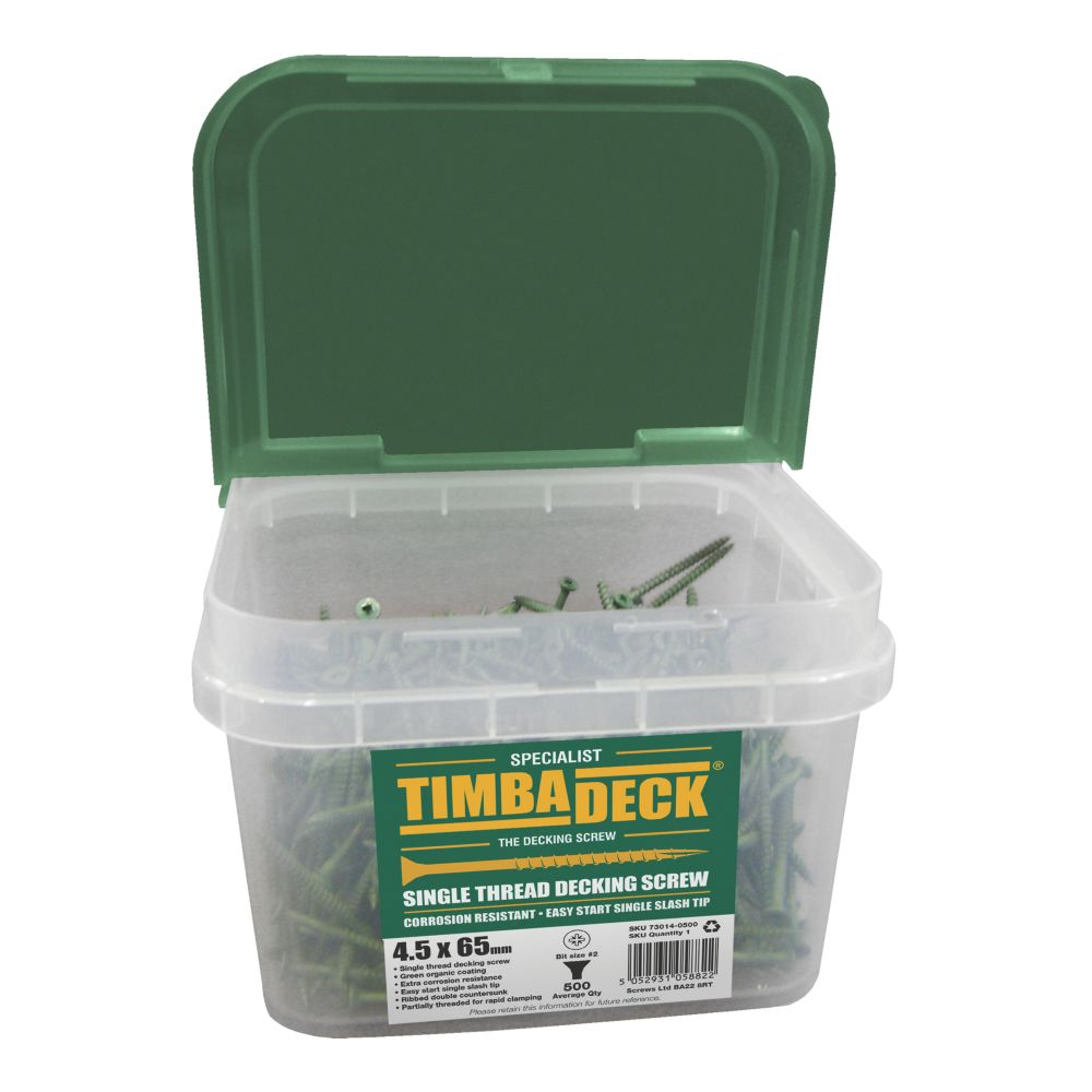 Image of Timbadeck Double-Countersunk Carbon Steel Decking Screws 4.5 x 65mm 500 Pack
