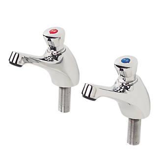 """Image of H & C Self-Closing Non-Concussive Bathroom Basin Taps Pair ½"""" Shine"""