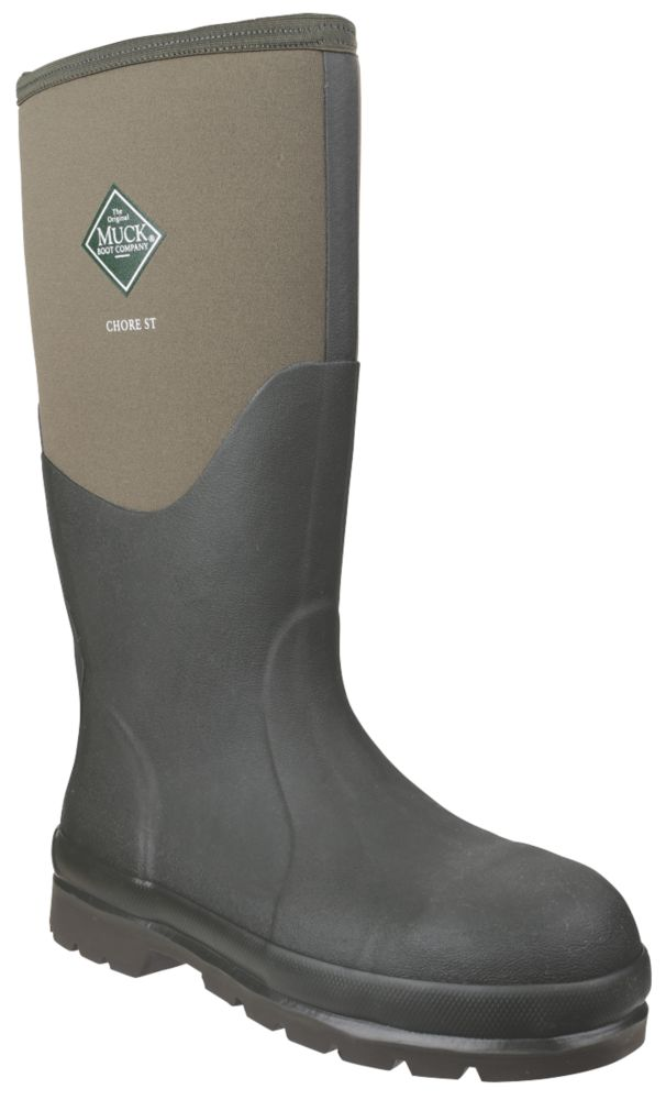 Image of Muck Boots Chore Classic Steel Safety Wellington Boots Green Size 7