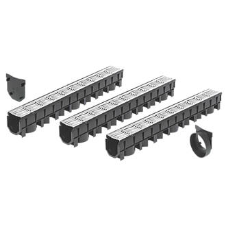 Image of FloPlast FloDrain Galvanised Garage Black / Silver 115mm x 1012mm 3 Pack