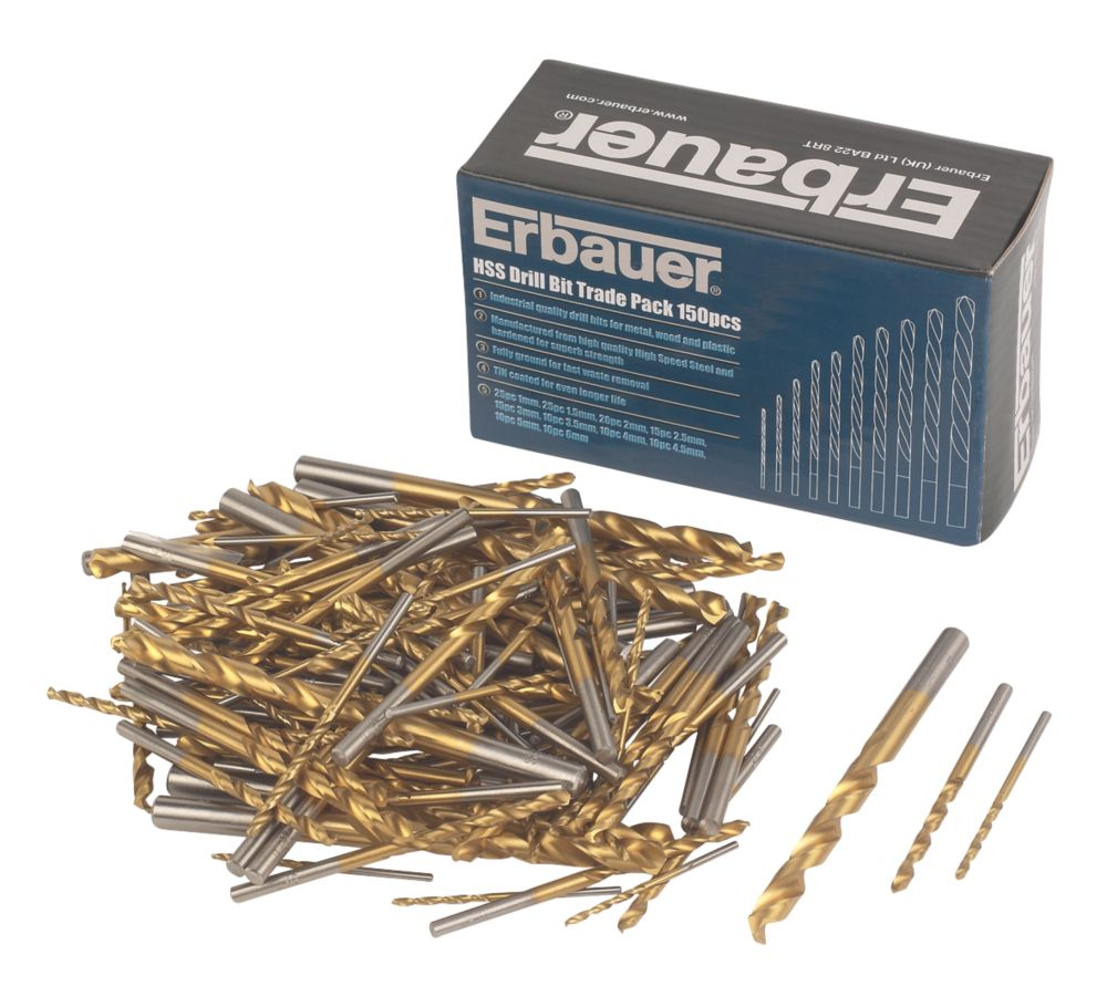Image of Erbauer HSS Drill Bit Trade Pack 150Pcs
