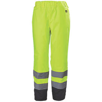 "Image of Helly Hansen Alta Hi-Vis Trousers Elasticated Waist Yellow X Large 39-41"" W 34"" L"