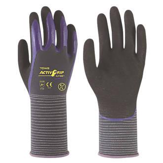 Image of Towa ActivGrip CJ-568 Nitrile Finger Coated Gloves Black/Purple Medium