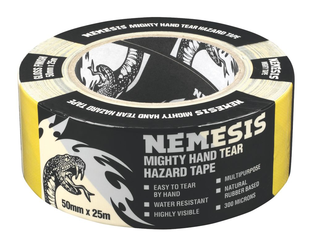 Image of Nemesis Hazard Tape Black / Yellow 50mm x 25m