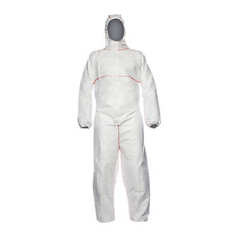 "Image of DuPont Proshield Flame Retardant Disposable Coverall White Large 42"" Chest 31"" L"