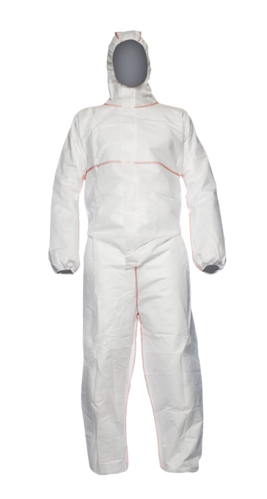 "Image of Proshield Flame Retardant Disposable Coverall White Large 42"" Chest 31"" L"