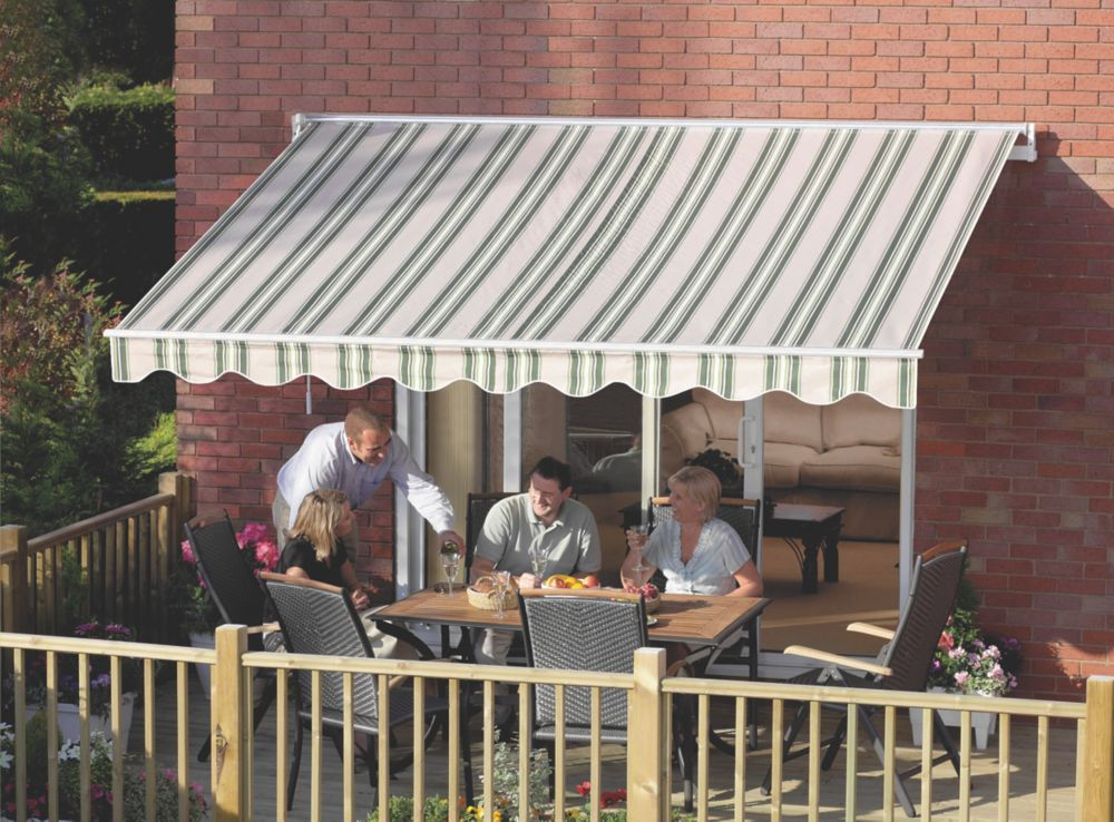 Image of Greenhurst Ascot Extendable Patio Awning Green / Beige 2.5 x 2m