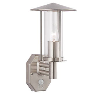 Brushed stainless steel e27 gls pir wall light outdoor wall brushed stainless steel e27 gls pir wall light outdoor wall lights screwfix mozeypictures Image collections