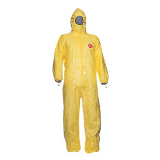 "Image of DuPont Tychem CHA 5 CHA5 Chemical Disposable Coverall Yellow Large 42"" Chest 31"" L"