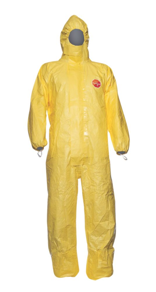"""Image of Tychem CHA 5 CHA5 Chemical Disposable Coverall Yellow Large 42"""" Chest 31"""" L"""