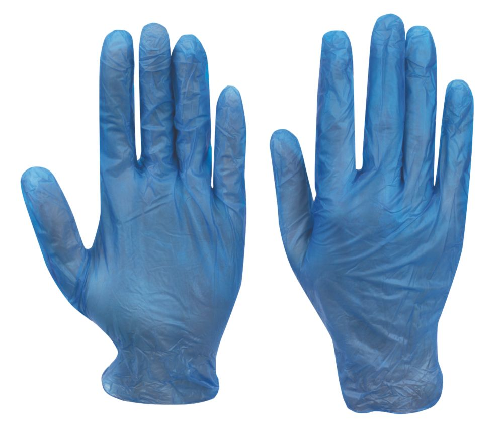 Image of Cleangrip Vinyl Powdered Disposable Gloves Blue X Large 100 Pack