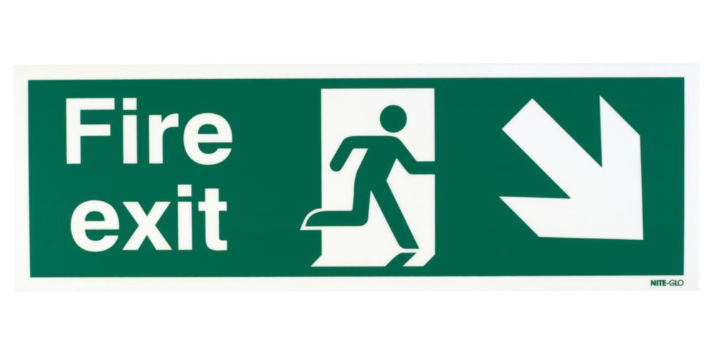 "Image of Nite-Glo ""Fire Exit"" Down Right Arrow Sign 150 x 450mm"
