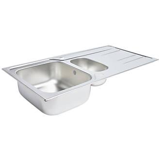 Kitchen Sink & Drainer Stainless Steel 1.5 Bowl 1000 x 500mm ...