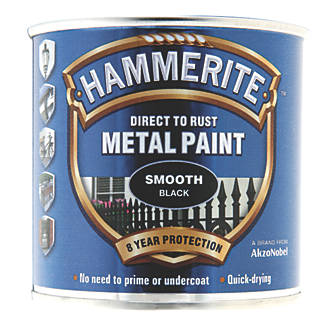 Image of Hammerite Smooth Metal Paint Black 250ml