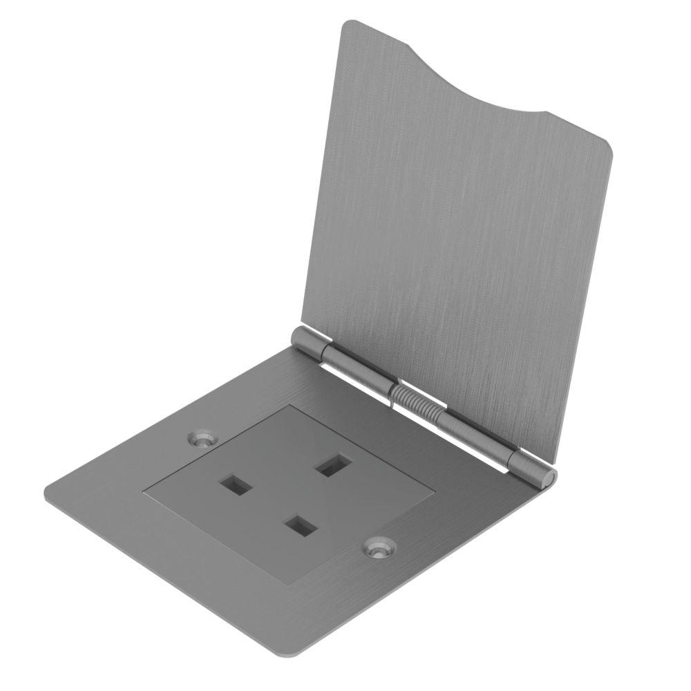 Image of BG 1-Gang Unswitched Brushed Steel Floor Socket