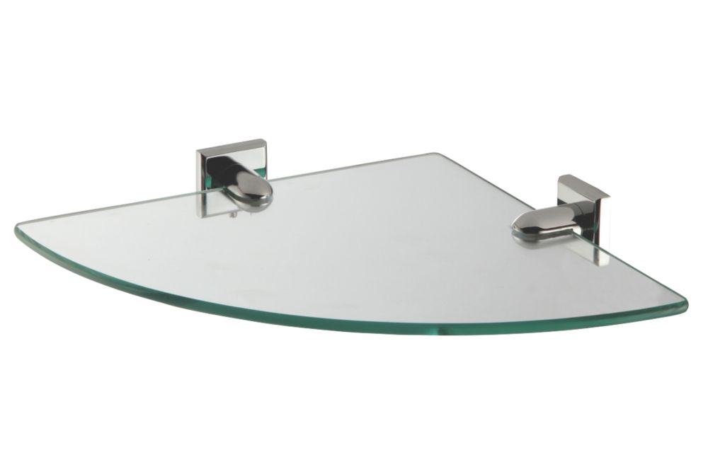 Image of Moretti Linear Chrome Glass Corner Shelf 267 x 267 x 6mm