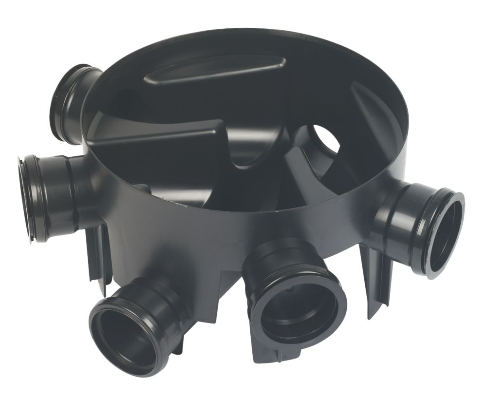 Image of FloPlast 5-Inlet Inspection Chamber Base Black 290mm