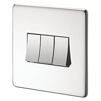 Image of Crabtree 10AX Switch Polished Chrome Flat Plate 3-Gang 2-Way