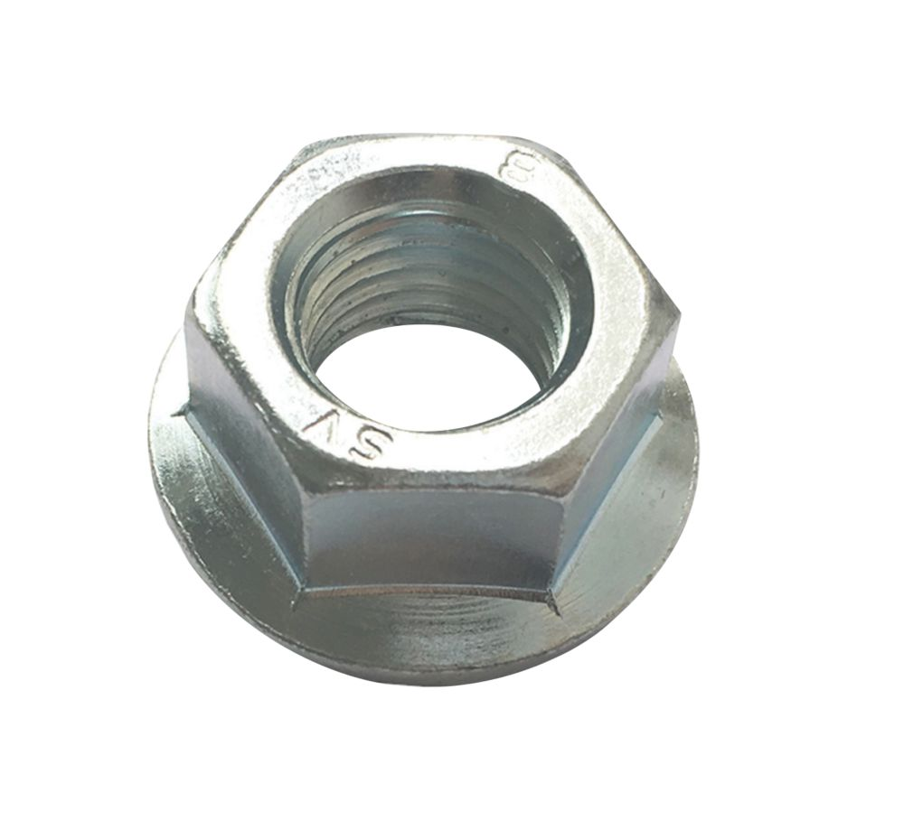 Image of Easyfix Flange Head Nuts Bright Zinc-Plated Carbon Steel M16 50 Pack