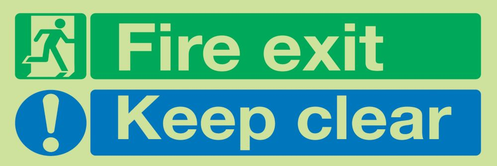 """Image of Nite-Glo """"Fire Exit Keep Clear"""" Sign 150 x 450mm"""