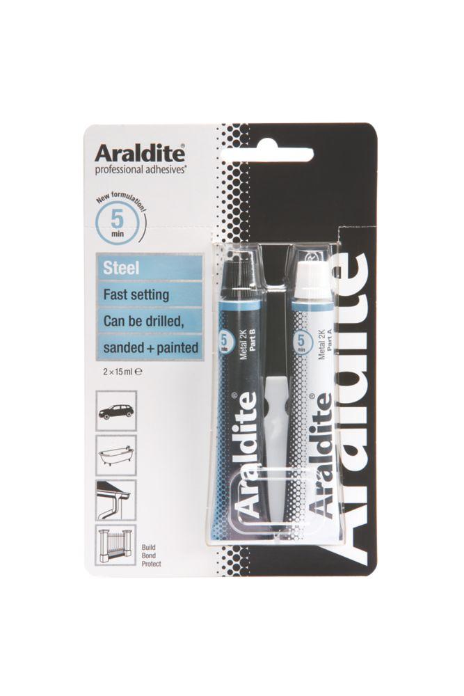 Image of Araldite Rapid Set 2-Part Epoxy Adhesive Grey 2 x 15ml