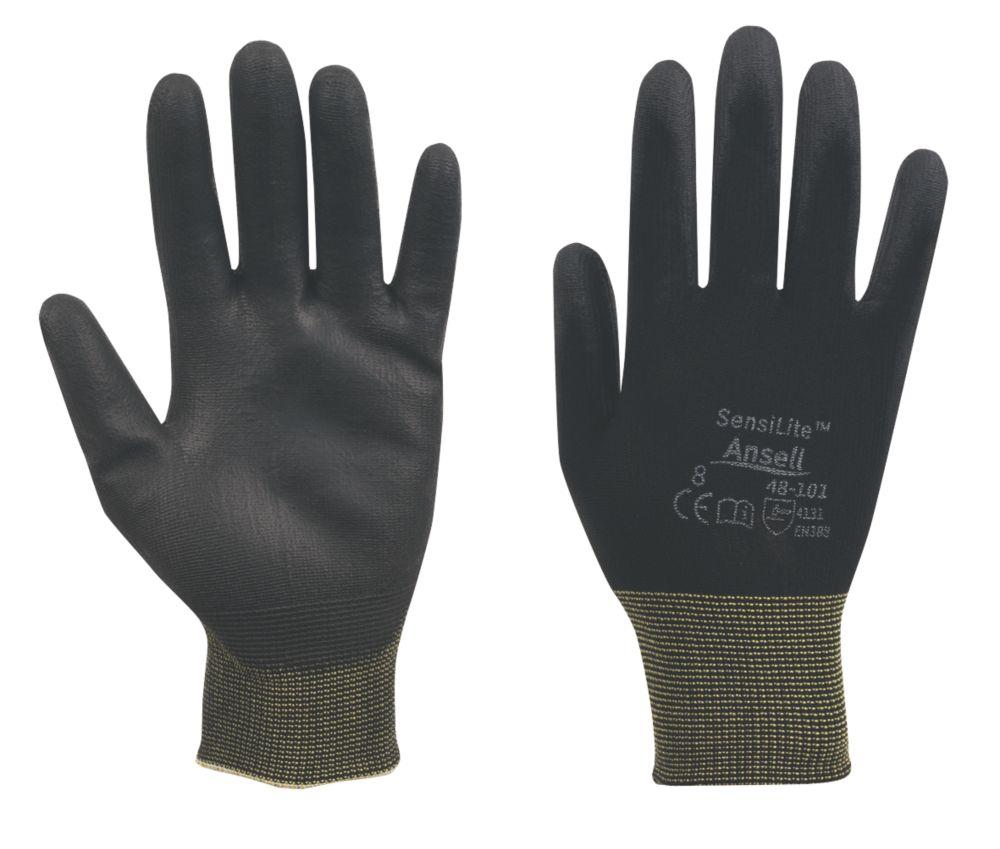 Image of Ansell Sensilite 48-101 PU-Coated Gloves Black Medium