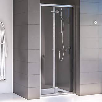 Aqualux Edge 6 Bi Fold Shower Door Polished Silver 800 X 1900mm