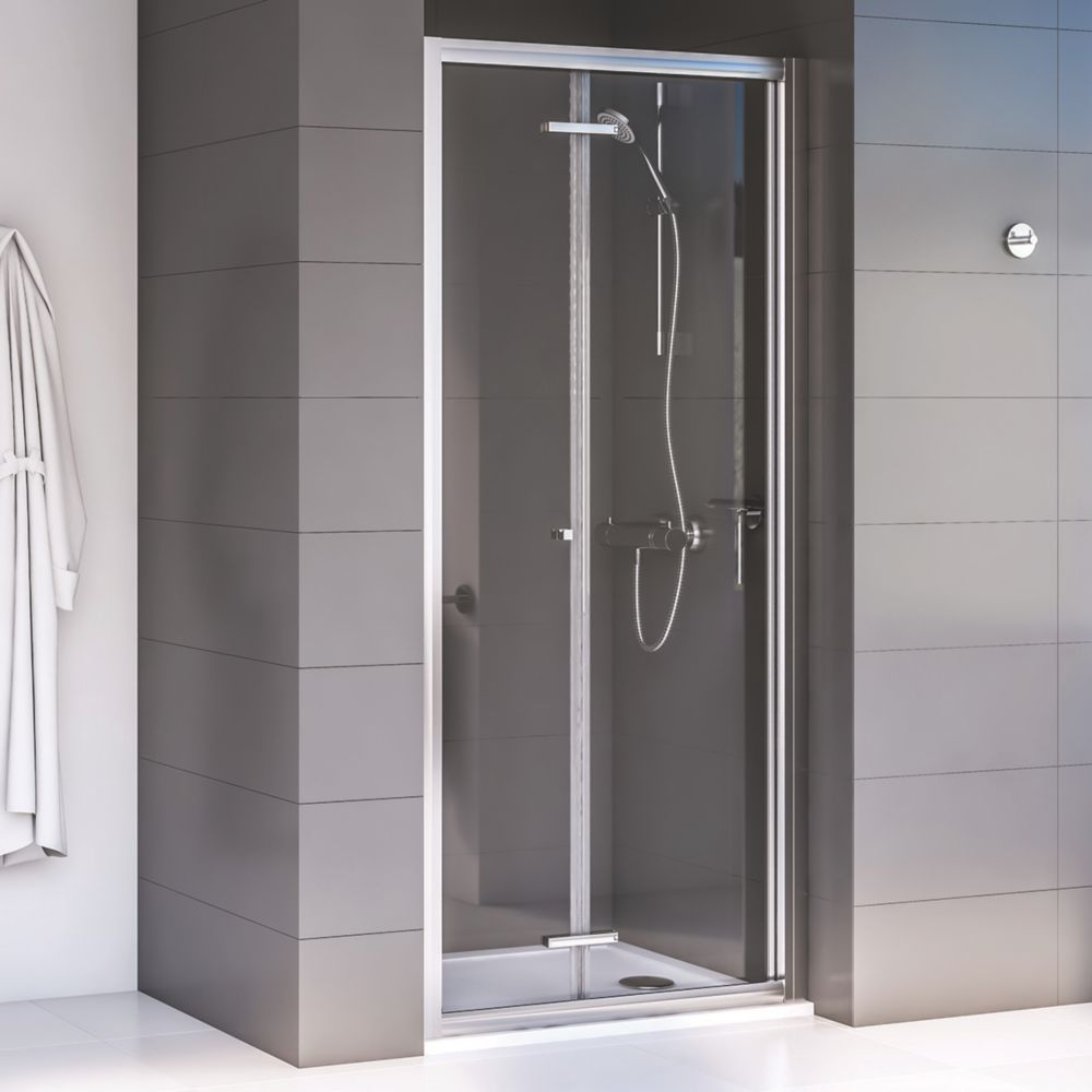 Image of Aqualux Shine 6 Bi-Fold Shower Door Polished Silver 800 x 1900mm
